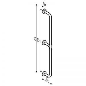 Maniglione di sicurezza su vari livelli verticale a parete