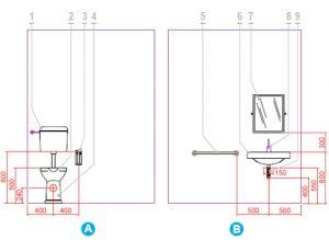 Altezza wc lavabo disabili pulsante scarico