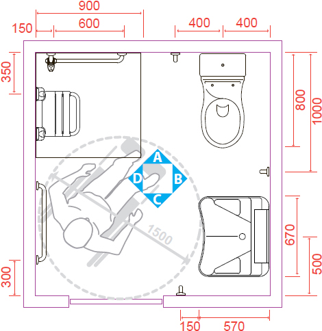 Tutte le altezze che un bagno per disabili deve rispettare - Misure lavabo bagno ...